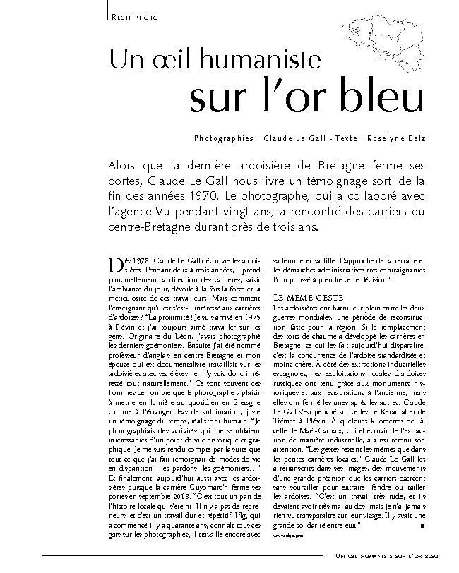 Un Oeil Humaniste Sur L Or Bleu Armen Revue Bretagne